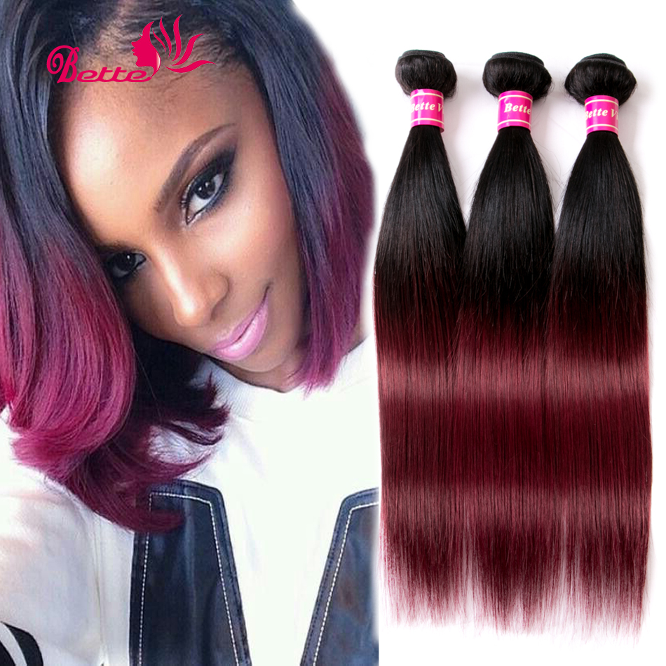 7a Soft Ombre Brazilian Hair Brazilian Virgin Hair Straight 3 Bundles Ombre Human Hair Bundles Weave Extensions Wine Red 1b/99J