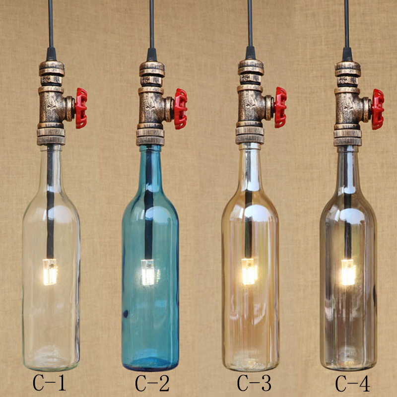 Industrial lamps vintage glass bottles shade pendant lamp for Luminaire suspension 4 lampes