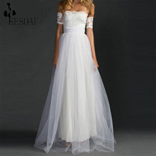 Orchid 2016 Dress Bow Decoration Short Sleeve Boat Neck Floor Length Solid Evening Party Wear Women Lace Dress