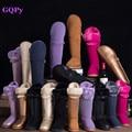 GQPy/Nuevo Invierno de lujo de piel de Vaca Cuero Genuino Botas de Alto de Rodilla de Alta a Largo Botas de Nieve Femenina de Piel Gruesa Hebilla botas de Mujer Plana