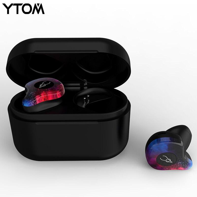 True Wireless Headphones TWS Bluetooth Earbuds for Men Women Bluetooth 5 0 Earphones with 3D Clear
