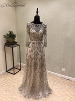 Stunning Beautiful 2018 Evening Dress Long Full Beading Tulle Party Gowns For Women Half Sleeve Robe