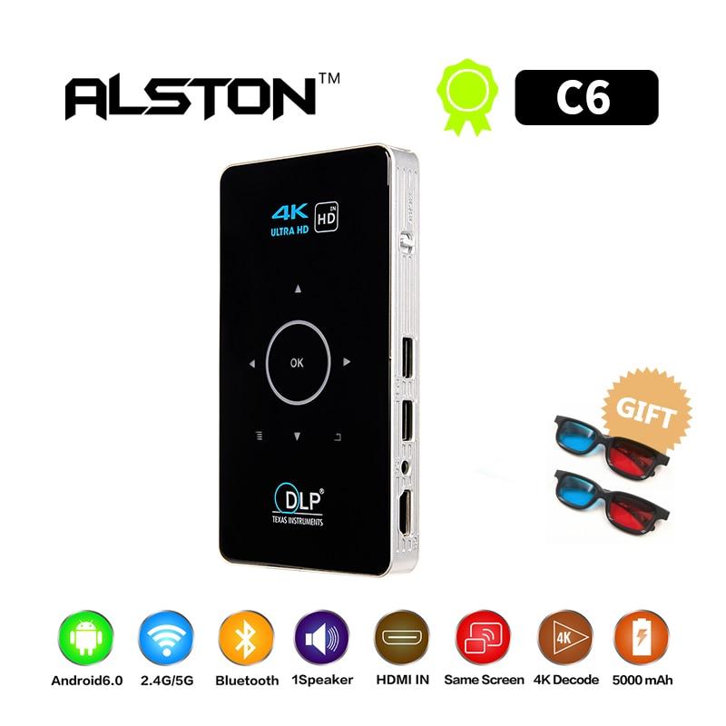 ALSTON C6 Mini 4 K DLP Android projecteur Wifi Bluetooth 4.0 Portable vidéoprojecteur LED Home Cinema Support Miracast Airplay