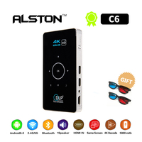 ALSTON C6 Mini 4K DLP Android Projector Wifi Bluetooth 4.0 Portable LED Video Projector Home Cinema Support Miracast Airplay