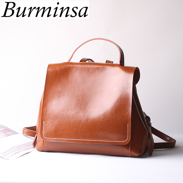 1991ff3f6c Burminsa Korean Style Chic Women Genuine Leather Backpack Ladies Large  Capacity Travel Bagpack School Bags For