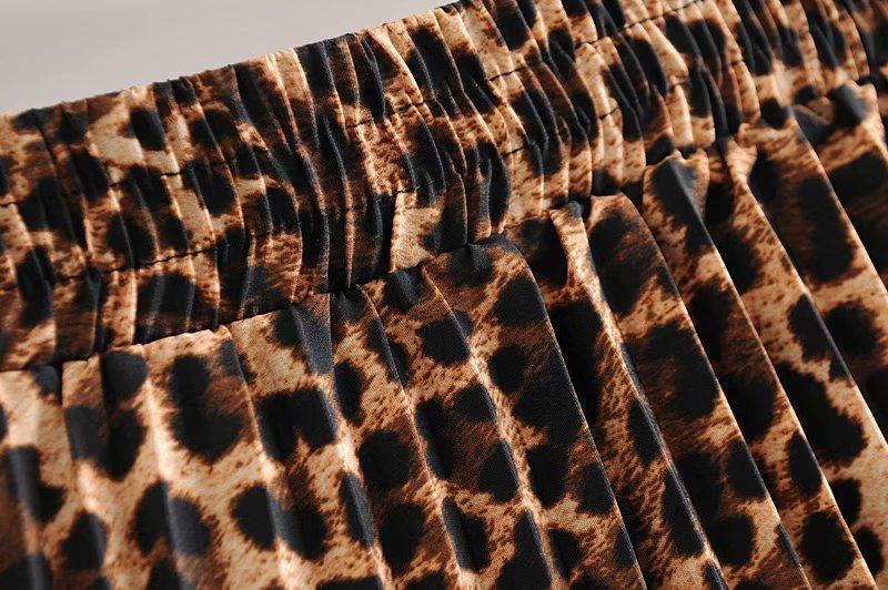 2019 Leopard Pleated Skirt with Bow Belt High Street Women Animal Print Midi Skirts 13