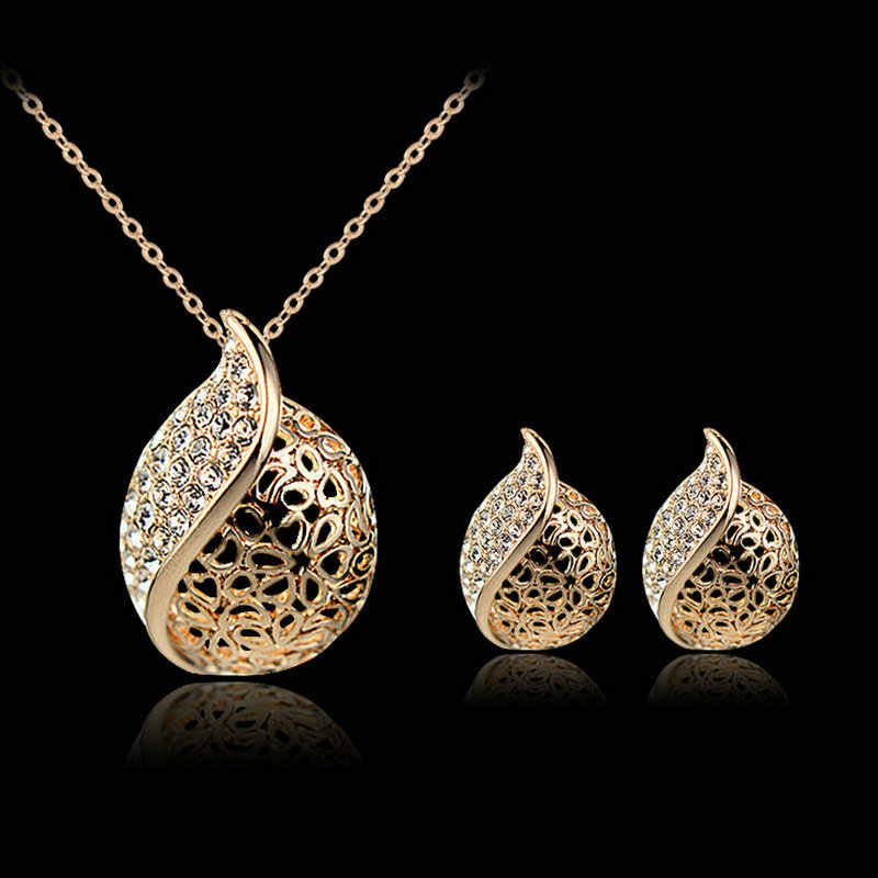 Fashion New Gold Filled Clear Austrian Crystal Water Drop Leaf Necklace Earring Chain Jewelry Sets For Women
