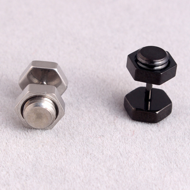 Fashion Men Women Punk Screw Silver Gold Black Titanium Steel Dumbbell Hexagon Screw Bolt Tool Stud.jpg 640x640 - Fashion Men Women Punk Screw Silver Gold Black Titanium Steel Dumbbell Hexagon Screw Bolt Tool Stud Brincos Earrings Jewelry