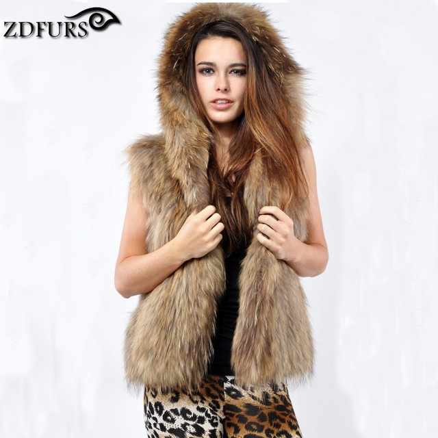 ZDFURS *Wholesale fashion Ladies raccoon fur vest gilet waistcoat  with hood for women ZDKR-165017
