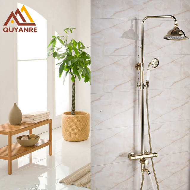 New Arrival Gold plated Bathroom Thermostatic Shower Mixer Faucet 8 ...