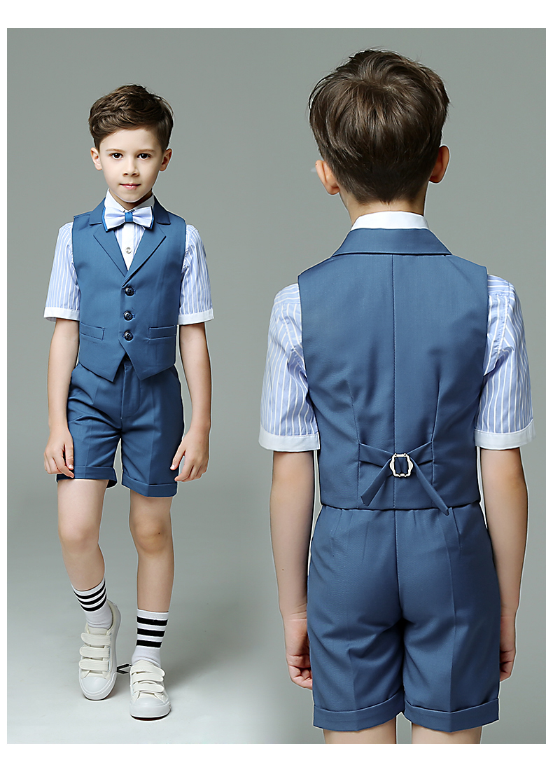 Summer Belt pants shirt + short pants Boys Formal Suits Flower ...