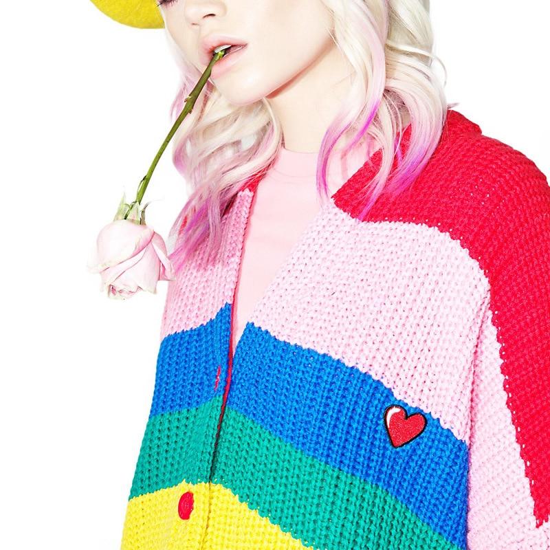 Coloré Arc Dames en Grande Imprimer Manteau Sweater Lâche Rayé Femmes 2018 Lettre Rainbow Taille cardigan Chandail Occasionnel Plus sBxohQCtrd
