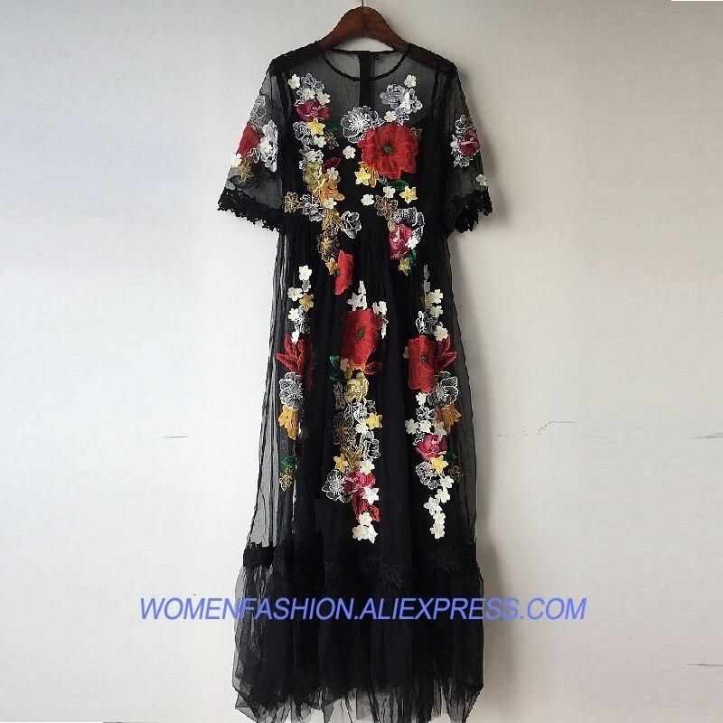09f1439bbcfc1c Schwarz Lange Stickerei Spitze Zwei Party Floral Tunika Frauen Sommer 2018  Luxus Kleid Vestidos Vintage Stück ...
