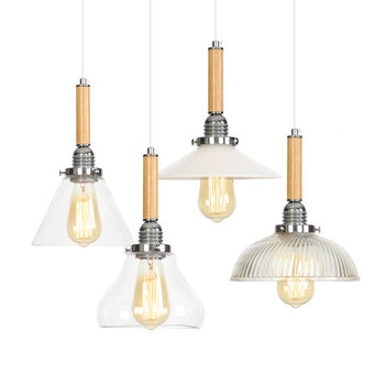 Nordic Wood LED Pendant Light Fixtures Industrial Lamp Loft Vintage HangLampen Glass Pendant Lights Dining Room Bar Luminaire