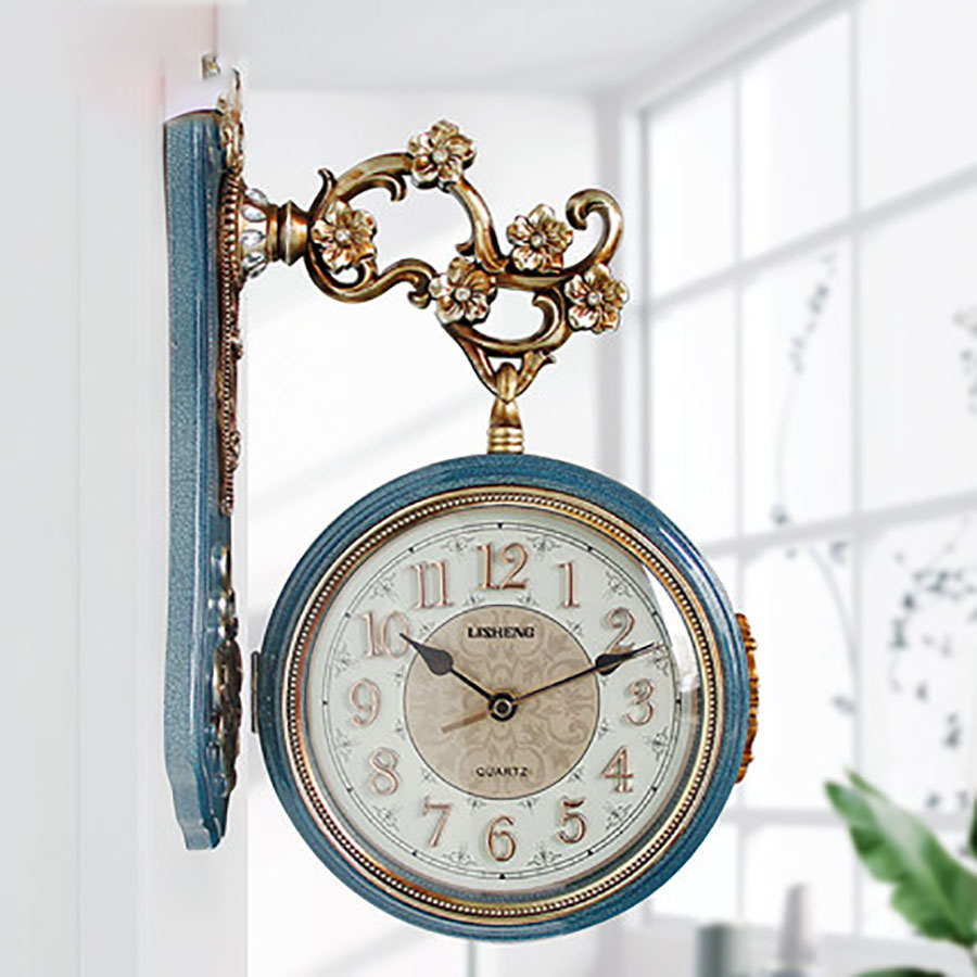Double-Sided Wall Clock European Living Room Hanging Table Creative Pow Patrol Watch Mechanism Silent Kitchen Living Room 5Q324