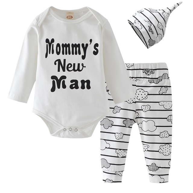 fff0764a3 3Pcs Newborn Baby Boy Clothes Cotton Long Sleeve Letter Mommy s New ...