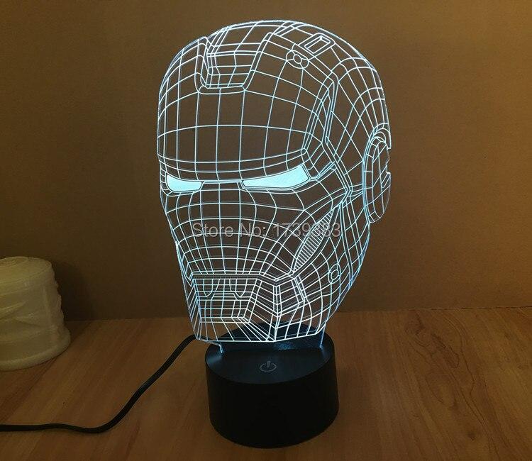 Free Shipping 1Piece 3D color changeable Avengers Iron Man Helmet Model font b LED b font
