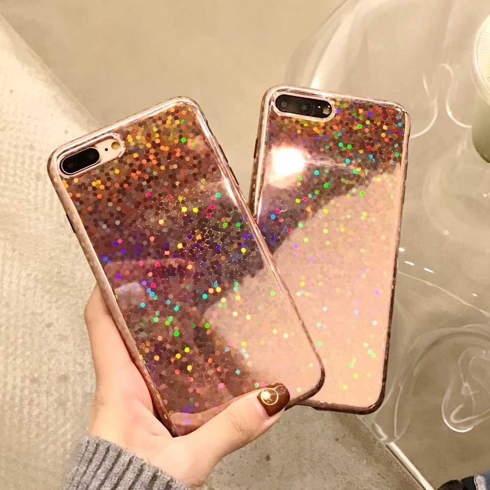 Rose Gold Laser Sequin Phone Case For iphone X 10 iphone 8 Plus Glitter Bling Glossy Cover For iphone 7 Plus iphone 6 s 6S Cases