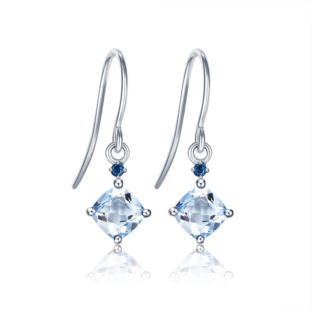 ENZO Pure 18K White Gold Earring Jewelry Aquamarine Women Girls Gift Party Female Drop Earrings Solid Hot Sale New Good Trendy real 18k gold jewelry heart earring women miss girls gift party female ear wire drop earrings solid hot sale new good trendy