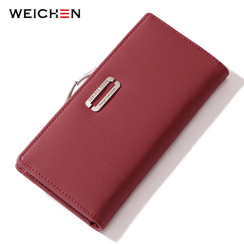 WEICHEN Clamp Cell Phone Pocket Women Wallet Card Holder Female Wallet Ladies Long Purse Clutch High Quality Fashion Carteras