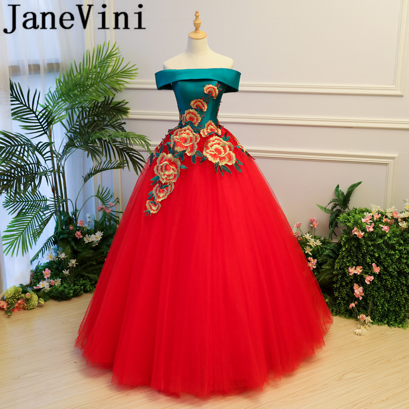 JaneVini 2018 Chic Long   Bridesmaid     Dresses   Ball Gown Embroidery Appliques Backless Tulle Floor Length Prom Gowns For Formal Wear