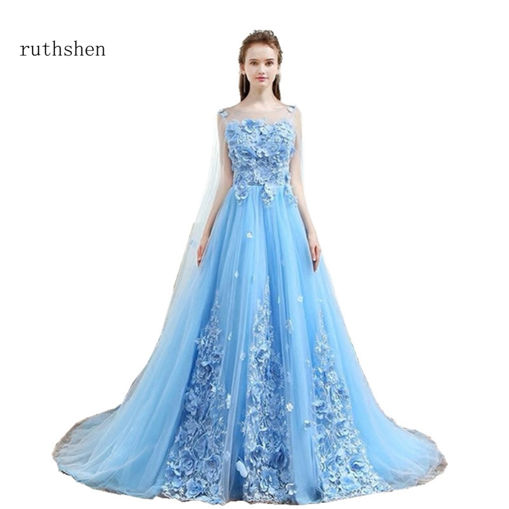 ruthshen Sky Blue Sweet 16   Dresses   Scoop Neck Beaded Flowers Quinceanera Ball Gowns Cheap Debutante Masquerade   Prom     Dress   2018