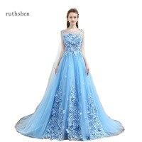 ruthshen Sky Blue Sweet 16 Dresses Scoop Neck Beaded Flowers Quinceanera Ball Gowns Cheap Debutante Masquerade Prom Dress 2018