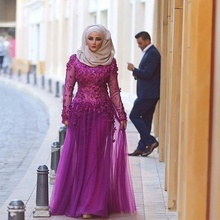 Fashion Long Sleeves Hijab Muslim Evening Dresses with 3D-flowers Arabic Dubai Long Prom Party Dresses Vestido De Festa