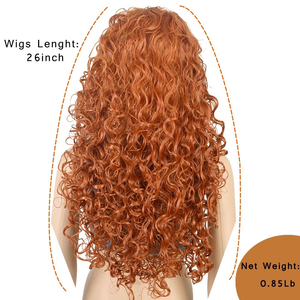 3011 Xi rocks Anime Movie Brave Princess Merida Cosplay Orange Wig Curly Role Play Wig Halloween synthetic Long Hair