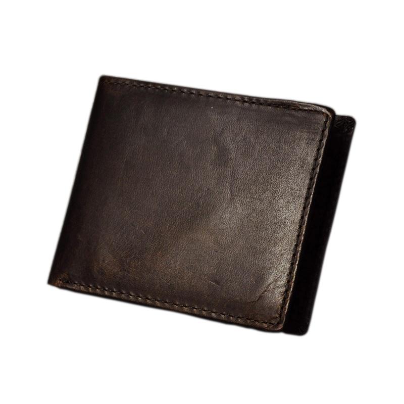 7eb097572d38 Мода ретро Для мужчин кошельки прилив мужской натуральная кожа кошельки  зажим для денег насыщенный Коричневый мульти