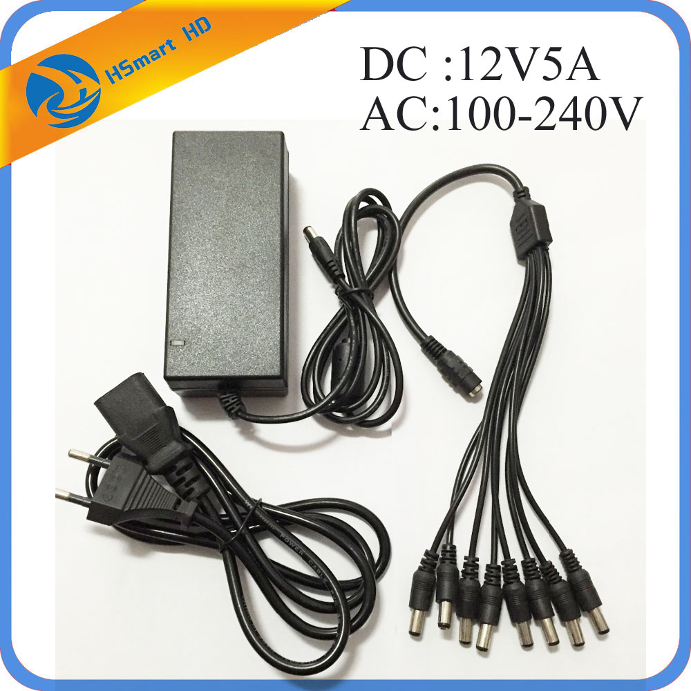 DC 12V 5A Power Supply Adapter + 8 Split Power Cable for CCTV Security Camera DVR Analog AHD TVI CVI camera DVR Systems dc 12v 5a ac adapter cctv power supply adapter box 1 to 8 port for the cctv surveillance camera system abs plastic