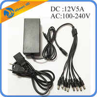 DC 12V 5A Power Supply Adapter + 8 Split Power Cable for CCTV Security Camera DVR Analog AHD TVI CVI camera DVR Systems