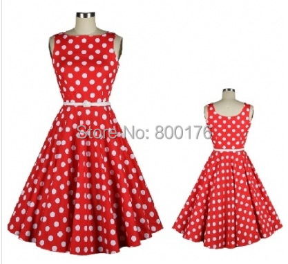 Popular Red Polka Dot Dress Vintage-Buy Cheap Red Polka Dot Dress ...