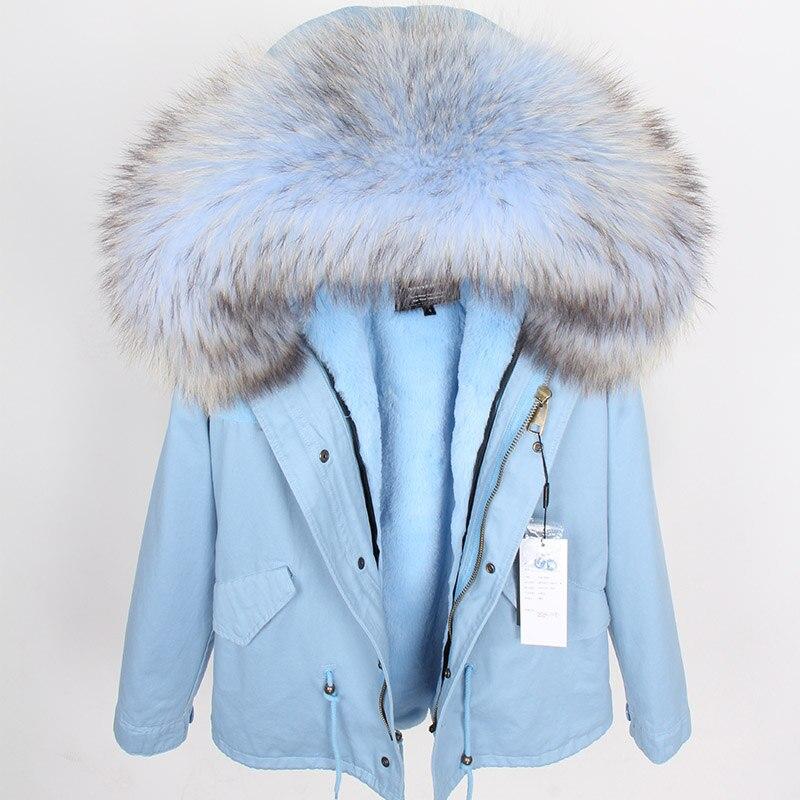 2018 размера плюс зимняя женская куртка с натуральным мехом, короткая куртка с воротником из натурального меха енота, парка с подкладкой из кр... - 4