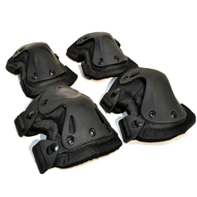 Tactical Paintball Protection Knee Braces Pads Elbow Support Motorcycle Sports Protector Set Genouillere Kneecap Black KU-695