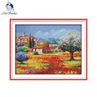 Joy Sunday Scenery Style Colorful Rural Pattern SCross Stitch Sets Painting Home Decor Handmade Cross Stitch
