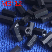 M3*12 12mm 1 pcs black nylon Black Nylon Hex Female-Female Standoff Spacer Threaded Hexagonal Spacer Standoff Spacer brand new цена