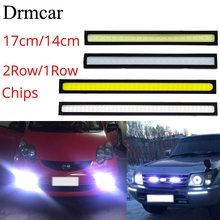 1Pcs 17cm/14cm 2Row/1Row Car COB Driving Fog lamp Double Day time Running lights Auto Waterproof Update Ultra Bright LED