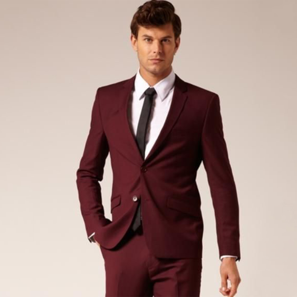 Custom Made to Measure Tailored Wedding Suits For Men,Wine Red Groom suit,maroon men tuxedo(Jacket+Pants+tie+square)14012306