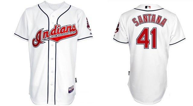 Cleveland Indians Jerseys  41 Carlos Santana White Baseball jersey free  shipping + Paypal 10cda139a