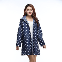 Outdoor Women Waterproof Riding Clothes Raincoat Poncho Pocket Polka Dot Hooded Knee Long Rainwear Nylon Lady Navy Blue