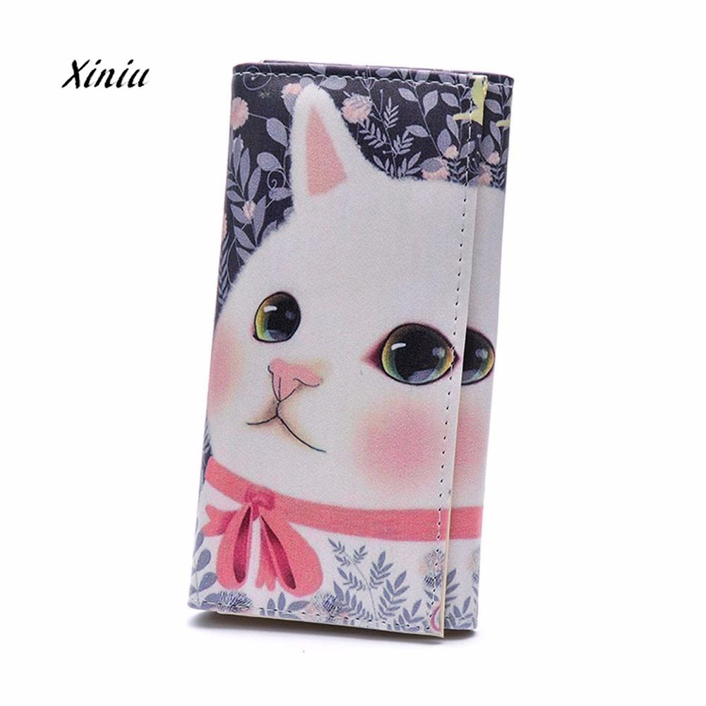 2018 New Fashion Cat Graffiti Long Wallet Women Cat Printed Clutch Card Holder Coin Purse Wallet Handbag Long Design Wallet