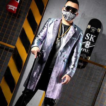 Men Fashion Casual Long Slim Fit Shiny Suit Jacket Male Hip Hop Dancer Singer Stage Costume Custom Made Coat
