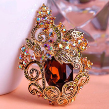 Blucome винтажная Цветочная Брошь для женщин Annivery ювелирные броши с австрийскими кристаллами букет ожерелье Рождество хиджаб булавки