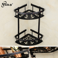 Bathroom Brass Corner Shelf Dual Tier Thickened Black Stereoscopic Classical Carved With Drill Rack Shampoo Storage Basket A4
