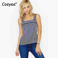 Cosyee Brand 2017 Women S Summer Casual Streetwear Camisole Vintage Navy White Stripes Sleeveless Camis Female