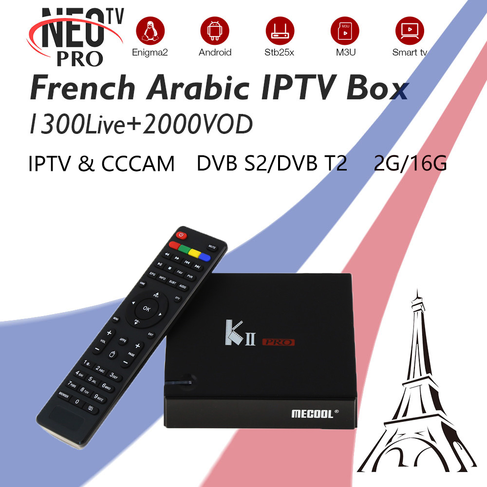 Mecool KII PRO+French Arabic IPTV Sport Live+VOD 2G/16G Hybrid DVB-T2 DVB-S2 Amlogic S905 BT4.0 Dual WIFI Android TV Box K2 PRO kii pro android tv box amlogic s905 media player 2g 16g dual wifi iptv dvb s2 t2 k2 pro satellite receiver ship from russian