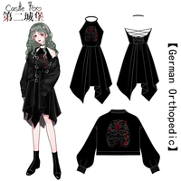 Gothic Lolita Dress Black Embroidery Set Original Design Harajuku Lolita Japan Gothic Dress Women Cosplay Ultra Short Coat 2018