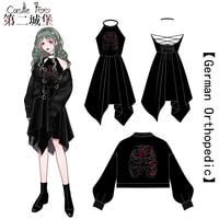 Gothic Lolita Dress Black Set Original Design Embroidery Harajuku Lolita Japan Gothic Dress Women Cosplay Ultra Short Coat 2018