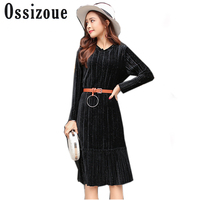 Vintage Autumn Winter Velvet Dress Women Clothes 2018 Long Sleeved Midi Black Dress Casual Dress With